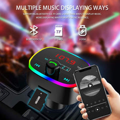 Bluetooth 5.0 Handsfree Car RGB Light TF Card U Disk Auto Music Transmitter 2.1A Quick Dual USB Charger LCD Digital Voltmeter