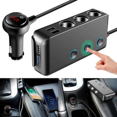Car Cigarette Lighter Car Charger Dual USB 4.8A 3.0 Cigarette Lighter Adapter 120W 3 Socket Car Power DC Socket Distributor