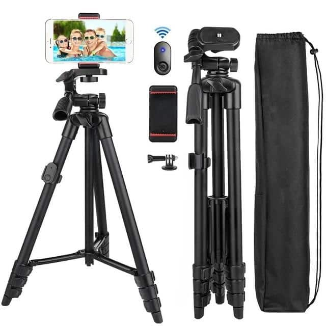 Cell Phone Tripod 55inch Selfie Stick Tripode with Bluetooth Remote Panorama Pan Head Travel Portable Tripod Stand for Mobile