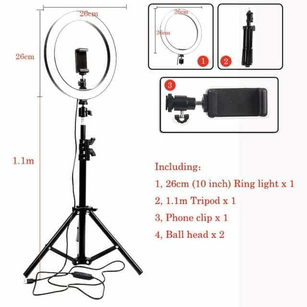 Dimmable LED Selfie Ring Light Camera Phone 10inch 26cm USB