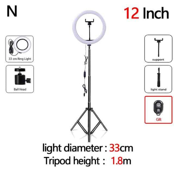 Dimmable  LED Selfie Ring Light with Tripod USB Selfie