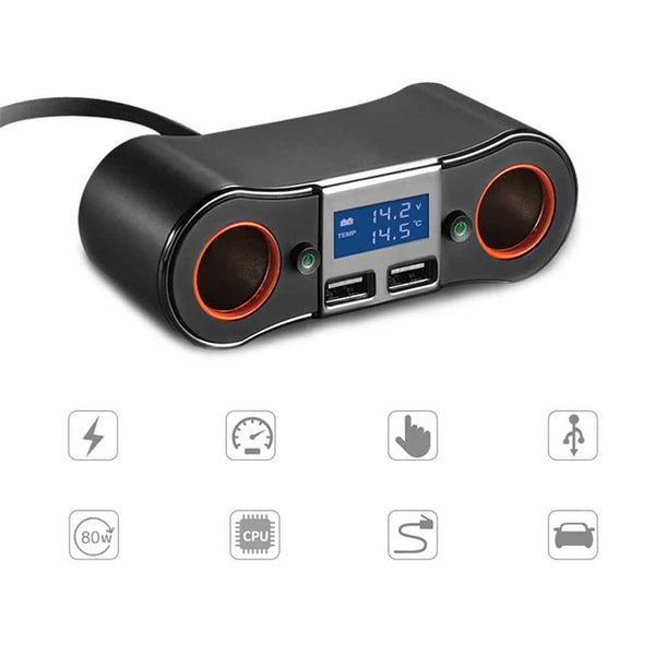 Double USB Car Distributor Car Charge Cables Adapters & Sockets One Trailer Two Intelligent Charging Smoke Lighter Car Charger