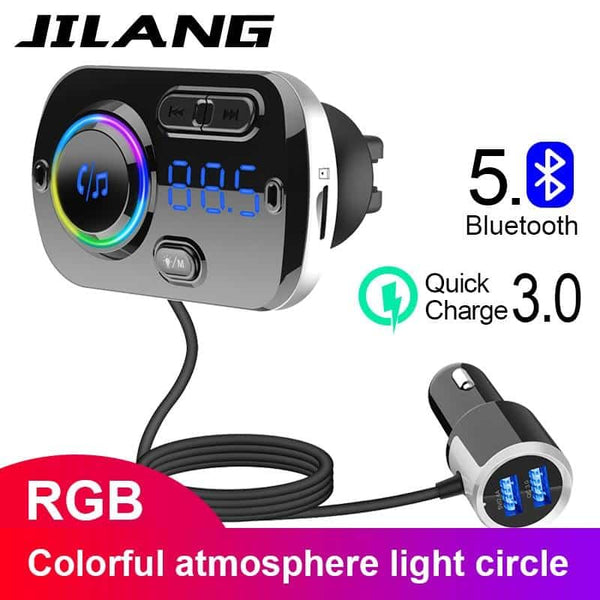 FM Transmitter Car Kit Handsfree Wireless Bluetooth MP3 Player Dual USB QC3.0 Fast charger Handsfree Colorful atmosphere lights