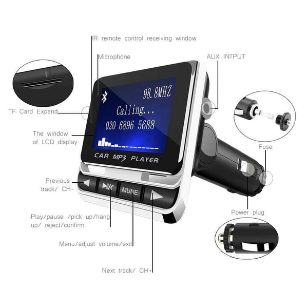 FM Transmitter,Car Transmitter MP3 Player Hand-Free Calling Radio Audio Adapter Bluetooth Transmitter Car Kit,USB Charger,TF C