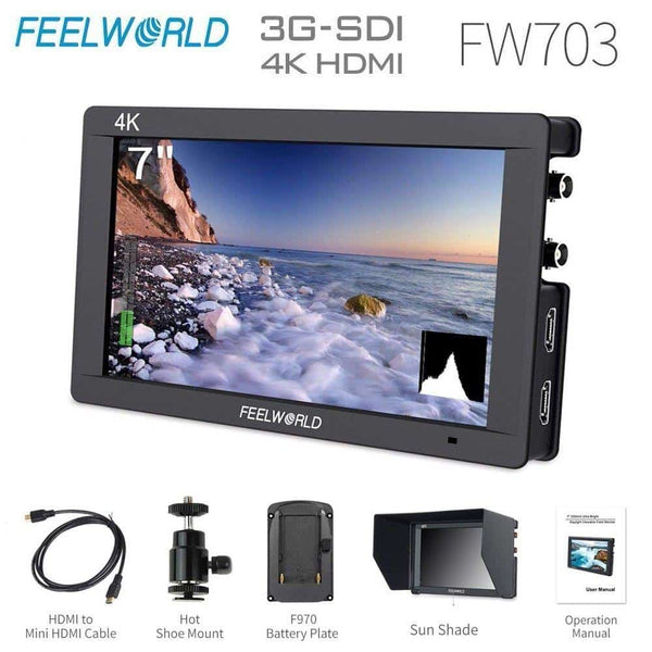 Feelworld FW703 3G SDI 4K HDMI Camera Field Monitor 7 Inch IPS Full HD 1920x1200 Portable DSLR Monitor for Sony Nikon Canon
