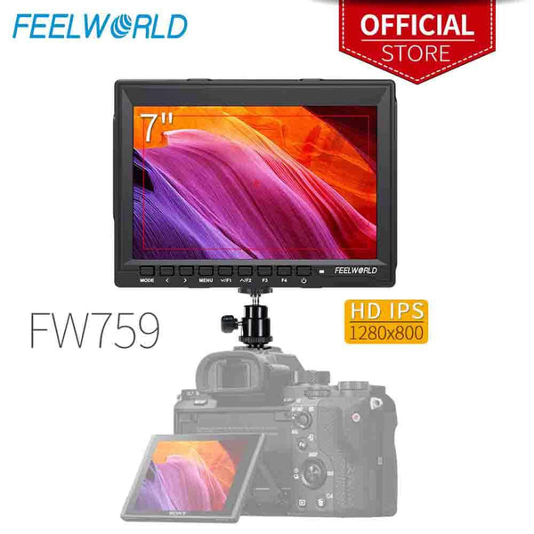 "Feelworld FW759 7 Inch IPS 1280x800 Camera Field DSLR Video Monitor with Peaking Focus HD 7"" LCD Monitor for BMPCC Canon Sony"