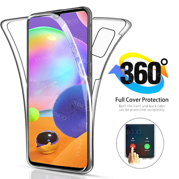 360 full Double Silicon Case For Samsung Galaxy A31 Transparent Body Armor cover for Samsung Galax A30 A31 A 31 31A coque covers