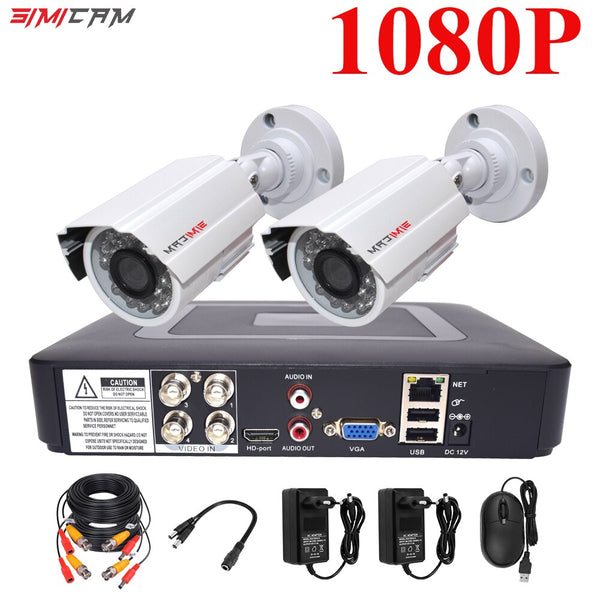 1080P CCTV Camera System 4CH DVR  2PCS Cameras 2MP Video Surveillance 4CH 5 in 1 DVR Infrared AHD TVcamera security system kit