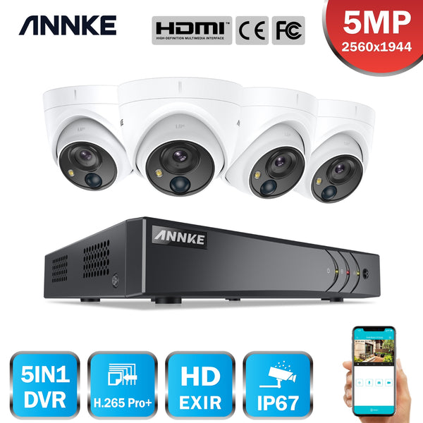 ANNKE 4CH 5MP Lite Video Security System 5IN1 H.265+ DVR With 4X 5MP PIR Detection Dome Waterproof Surveillance Cameras CCTV Kit
