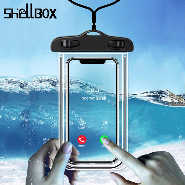 "Shelbox Luminous Waterproof Smartphone Case For Phone Pouch Bag 6.5"" Underwater Phone Case For iPhone 11 Huawei Xiaomi Universal"