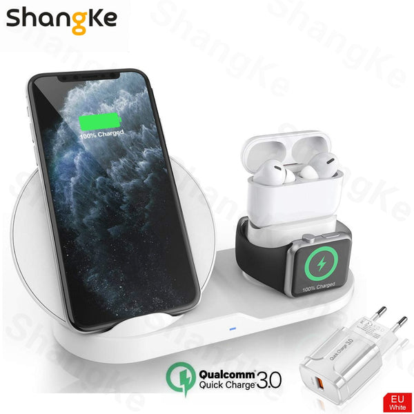 Wireless Charger Stand for iPhone AirPods Apple Watch, Charge Dock Station Charger for Apple Watch Series 5/4/3/2 iPhone 12 11 X