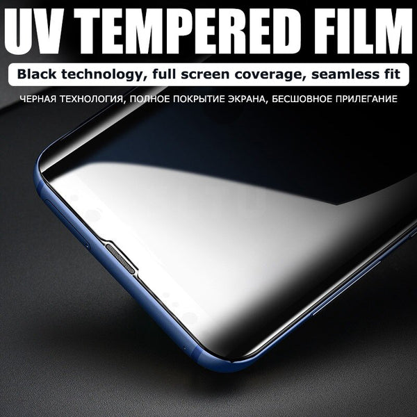 9000D Full Cover UV Tempered Glass For Samsung Galaxy S8 S9 S10 S20 Plus Note 20 Ultra S10E Note 8 9 10 Screen Protective Glass