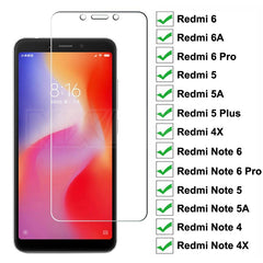9H Tempered Glass For Redmi 6 Pro 6A 5 Plus 5A 4X S2 Go K20 Screen Protector Glass Redmi Note 6 5 5A 4 4X Pro Protective Film