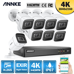 ANNKE 4K 8CH Ultra HD CCTV Camera System H.265 DVR Kit 8PCS 8MP TVI IP67 Outdoor Home Video Security Surveillance System Kit