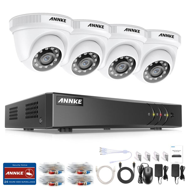 ANNKE 4CH 2MP HD Video Surveillance System H.265+ 5in1 5MP Lite DVR 4PCS 1080P Dome Outdoor Weatherproof Security Cameras CCTV