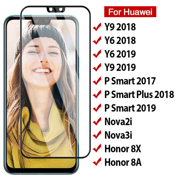 2pcs 9D Full Cover Protective Glass For Huawei Y6 Y9 P Smart 2019 Glass For P Smart Plus Nova 4 3i Honor 8X 8A 9X Tempered Glass