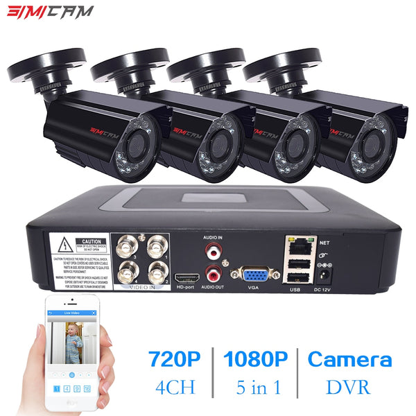 4 channel 2MP Video Surveillance System 720P 1080P DVR Kit CCTV waterproof Outdoor IR AHD camera security camera system for home