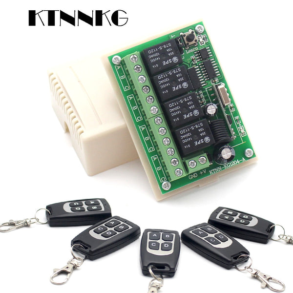 DC 12V 4 Gangs Remote Relay Module 433MHz Wireless Receiver Control Light Switch DIY Smart Home Security System with Jump Cap