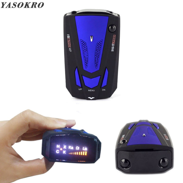 YASOKRO Car Radar Detector English Russian Auto 360 Degree Vehicle V7 Speed Voice Alert Alarm Warning 16 Band LED Display