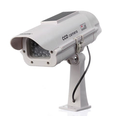 Flashing Red Light Home Security Bullet CCTV Fake Dummy Camera W/ Solar Powered