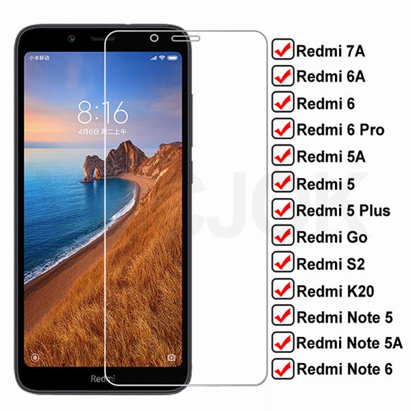 9H Tempered HD Glass For Xiaomi Redmi 7A 6A 5A Go S2 K20 Screen Protector Glas Redmi 5 Plus Note 5 5A 6 Pro Protective Film Case