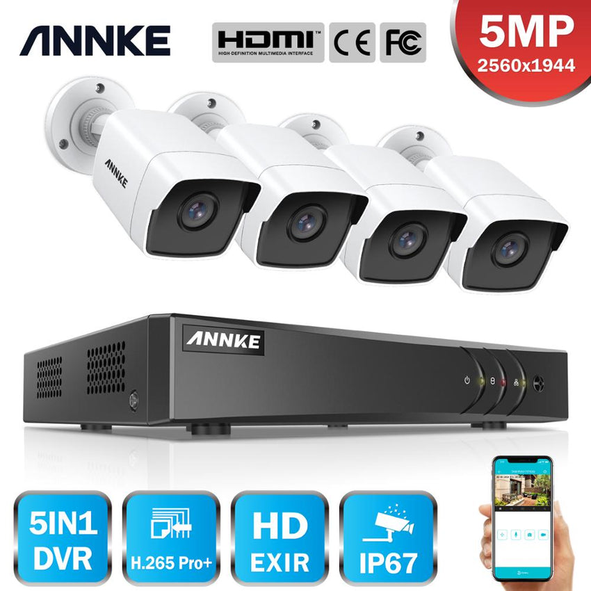 ANNKE 8CH 5MP Lite Video Surveillance Cameras System 5IN1 H.265+ DVR With 4PCS 5MP Bullet Weatherproof Security Cameras CCTV Kit
