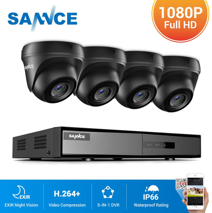 SANNCE 4CH 1080N HDMI DVR CCTV System 4pcs 1080P FHD Security Cameras IR Indoor Waterproof Outdoor Video Surveillance CCTV Kit