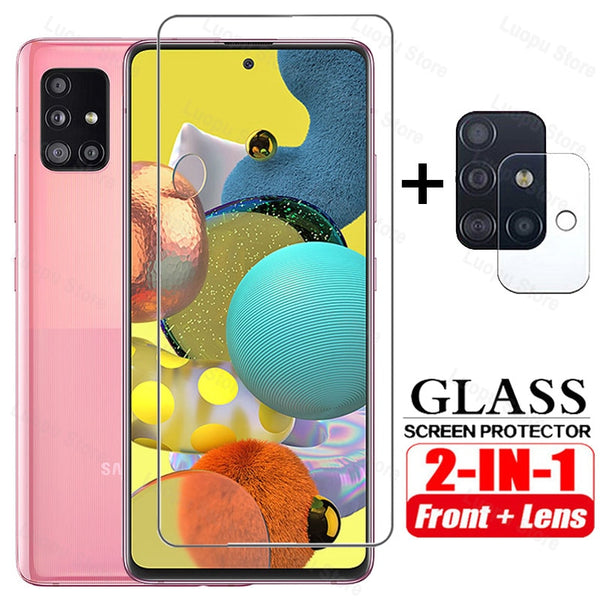 2in1 Tempered Glass for Samsung A51 A71 A50 A30 A21S A31 A20E Screen Protector Camera lens Protective  for Samsung A51 A71 glass