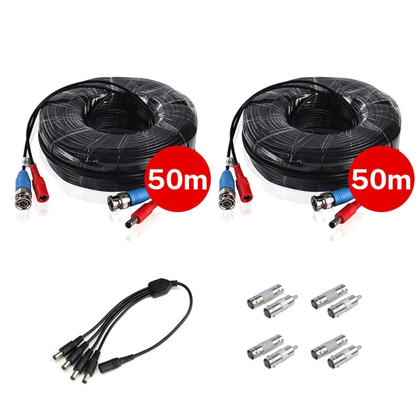 2PCS 50M 164 Feet BNC Video Power Cable For CCTV Camera DVR Security System 1 to 4 Port Power Splitter Cable 4 PCS BNC Connector