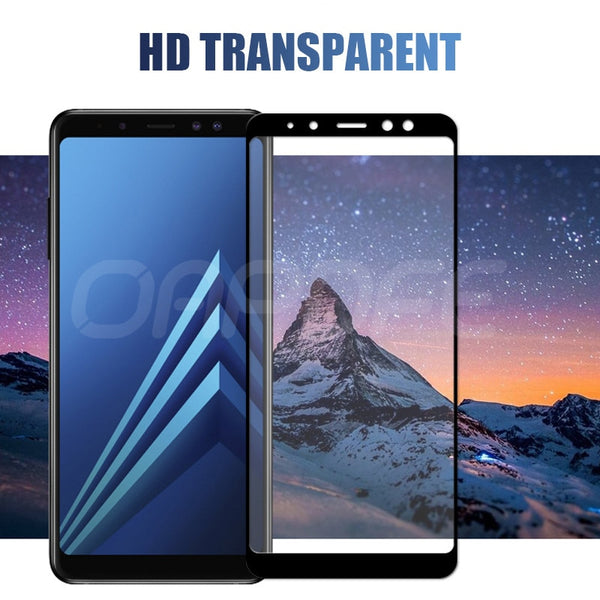 9D Protective Glass on the For Samsung Galaxy A5 A7 A9 J2 J8 2018 A6 A8 J4 J6 Plus 2018 Tempered Screen Protector Glass Film