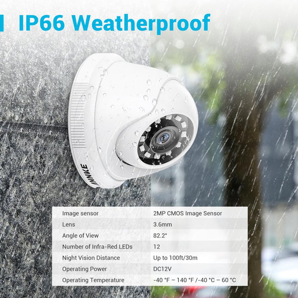 ANNKE 16CH 2MP HD Video Surveillance System H.265+ 5in1 5MP Lite DVR 12X 1080P Dome Outdoor Weatherproof CCTV Security Cameras