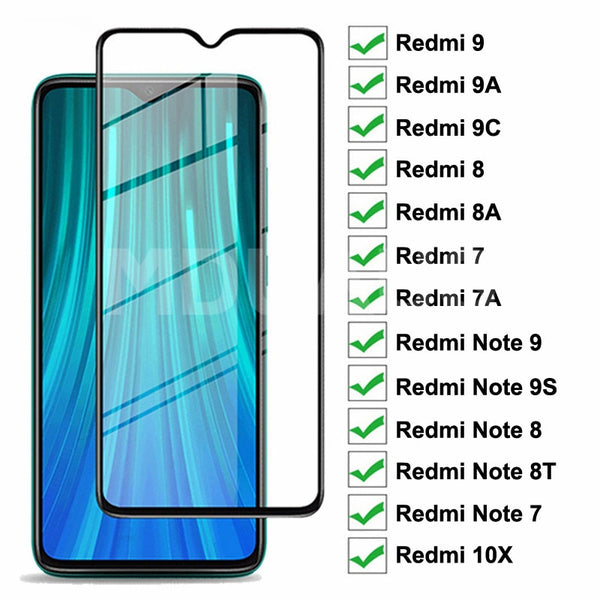 9D Protective Glass For Xiaomi Redmi 9 9A 9C 8 8A 7 7A 10X Tempered Screen Protector Redmi Note 7 8 8T 9S 9 Pro Max Glass Film