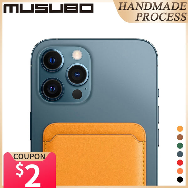 Musubo Original For iPhone 12 Pro Max MagSafe Card Slot 12 Pro Card Bag Genuine Leather 12 MINI Magsafing Magnetic Card Holder