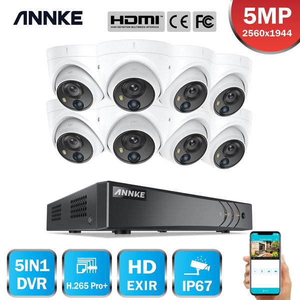 ANNKE 16CH 5MP Lite HD Video Security System 5IN1 H.265+ DVR With 8PCS 5MP Dome Weatherproof PIR Surveillance Cameras  CCTV Kit
