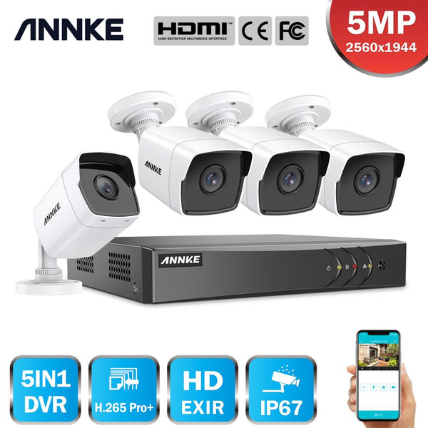 ANNKE 4CH 5MP Lite HD Video Security System 5IN1 H.265+ DVR With 4X 5MP Bullet Outdoor Weatherproof Surveillance Camera CCTV Kit