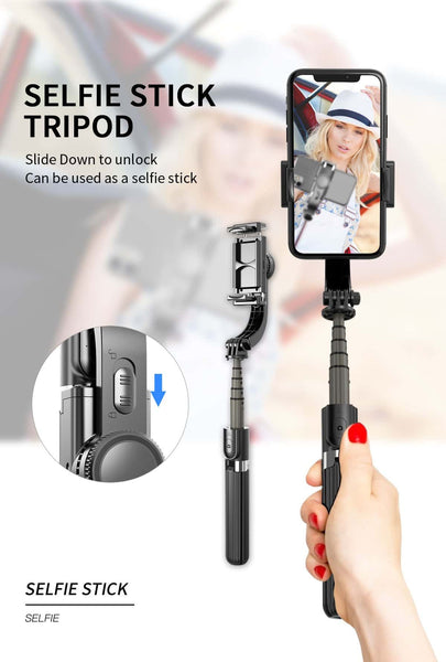 L08 Bluetooth Handheld Gimbal Stabilizer Tripod Mobile Phone Selfie Stick Holder Adjustable Wireless Video Record Selfie Stander