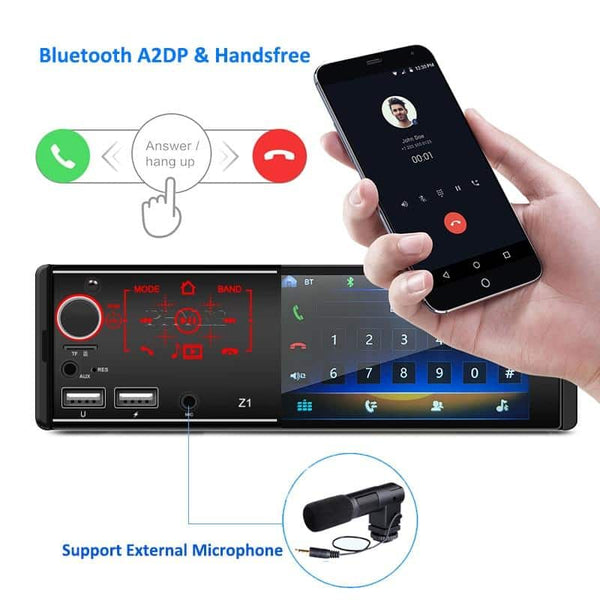 Mirror Link Car Radio 1 Din 4.1 Inch Touch Screen MP5 Video Player Bluetooth USB TF Aux Mic Input ISO Audio System Head Unit Z1