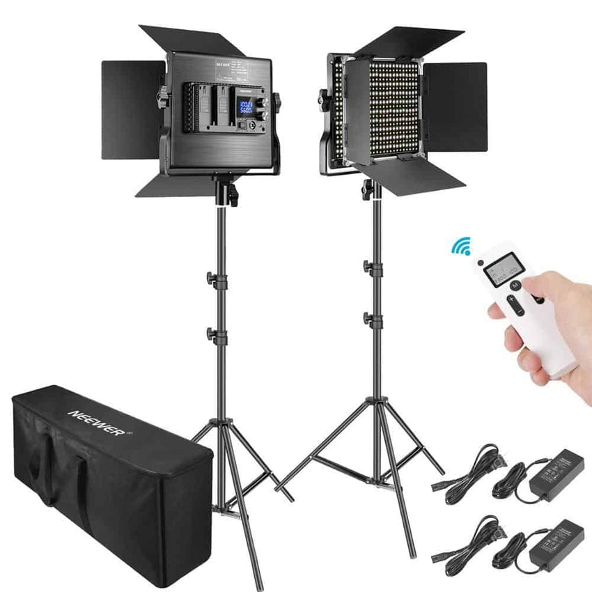 Neewer 2-Pack Advanced 660 LED Panel Video Light  Kit Photography Dimmable with 2.4G Wireless Remote for Studio Shooting