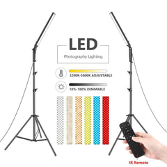 Neewer 2 Packs 210 LED Video Light Photography LED Lighting Kit,21W Dimmable 3200-5600K Light with Stand,Infrared Remote Control