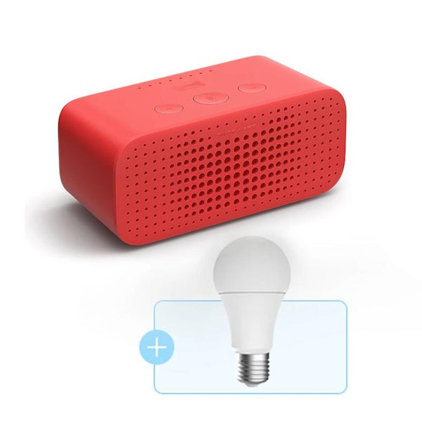 Tmall Elf Square Sugar R Smart Speaker and Bulb Package combines wireless Bluetooth speaker voice assistant alarm clock