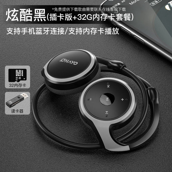 Wireless sports Bluetooth headset two-eared head-mounted running ear hanging neck does not plug into the ear card mp3 one-in-one bone conduction headset painless wearing universal long standby battery life men and women