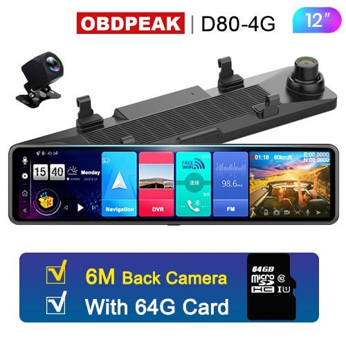 OBDPEAK D80 Smart Android Car Rearview Mirror Auto Recorder 4G WiFi GPS Navigation Rear View Mirror Car Dvr Dash Cam Mirror Dvr