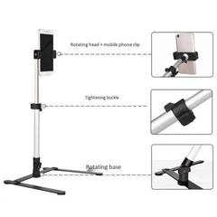 Photography Adjustable Table Top Stand Set Mini Monopod+Phone Clip Fill-In Light Bluetooth Control
