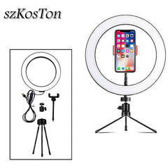 Photography LED Selfie Ring Light 26cm/16cm Dimmable 10inch USB Camera Phone Studio Ring Lamp With Tripods For Makeup Video Live