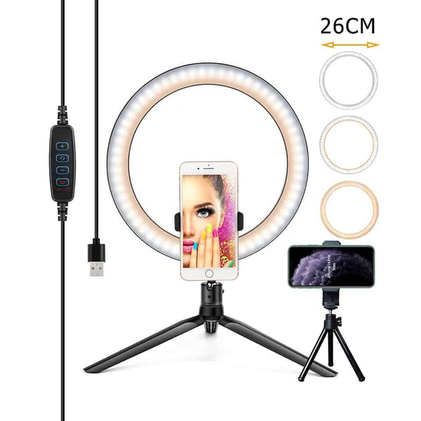 Photography Lighting Phone Ringlight Tripod Stand Photo Led Selfie26CM