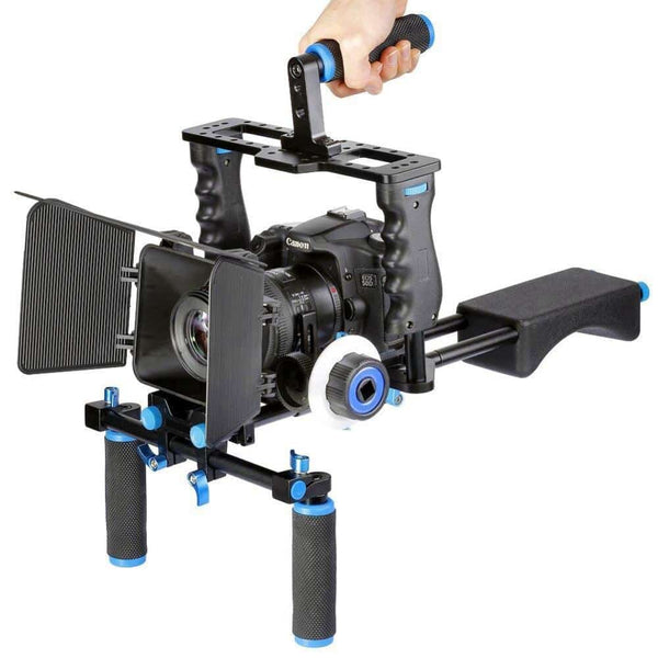 Profesional DSLR Rig/Video Camera Stabilizer/Protection Kit Matte Box+Dslr Cage+Shoulder Mount+Follow Focus For Canon Nikon Sony