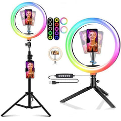 Tongdaytech Dimmable RGB LED Selfie Ring Fill Light Photo Ring Lamp With Tripod