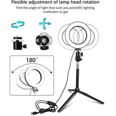 "Travor Selfie LED Ring Light 6"" Dimmable USB Plug Round lamp With Tripod"