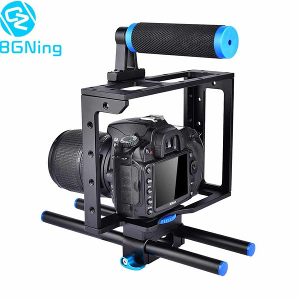 Universal Camera Cage for Canon for Sony for Nikon for Panasonic DSLR Support Mount Photography Rig Rail Rod Follow Focus System