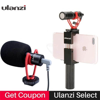 Vlog Setup Compact Camera Microphone W Phone Handle Grip Video Rig Smartphone Mic for iPhone 11 Huawei Canon Nikon DSLR Cameras